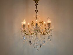 Antique Vintage Brass amp; Crystals Italian Chandelier Lighting with 8 arms Fixture $1125.00