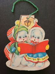 Vtg Christmas Greeting Card Paper Tree Ornament Snowman Couple Carolers 1940s $8.98