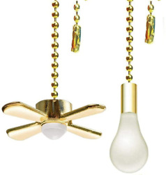 Ceiling Fan Pull Chain Ornaments Extension Chains with Decorative Light Bulb and