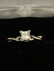 Magic Glo 14K White Gold Natural Diamond Solitaire Engagement Ring Authentic $515.00