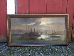 """Signed Old Oil Canvas Painting On Banks Of Thames London 45"""" x 23"""" Shipping Ok $650.00"""