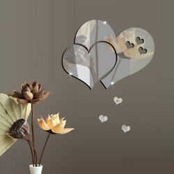 1*Mirror Love Hearts Wall 3D Sticker DIY Removable Decal Home Room Mural Decor $2.79