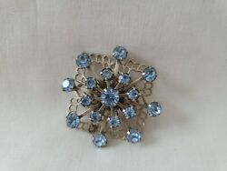 Vintage Antique with Blue Stones Brooch Pin Fast Shipping $7.99