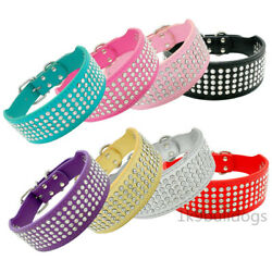 Bling Rhinestone Dog Wide Collars Crystal Leather Necklace for Medium Large Dogs $14.99