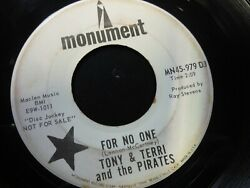 Tony amp; Terri amp; the Pirates For No One Beatles Back on My Feet Again 45 Garage $10.00