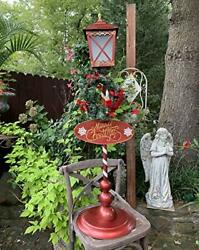 Standing Metal Christmas Lamp Post with LED Wreath and quot;Merry Christmasquot; Sign $129.95