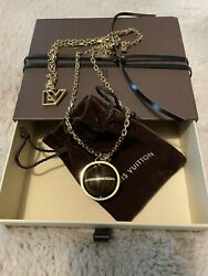 Louis Vuitton Crystal and Wood Sphere Pendant Necklace $350.00