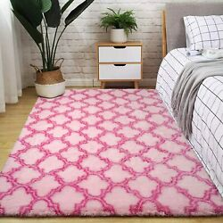 Pink Moroccan Big Area Rug Plush Fluffy Rugs for Living Room Girls Bedroom 5X8ft $39.99