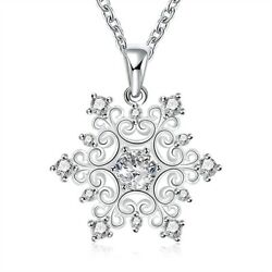 Christmas Crystal Snowflake Silver Charm Chain Necklace Pendant Jewelry Gift New $6.99