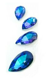 5 Blue Rainbow Teardrop Chandelier Crystals 38mm Foiled FREE SHiPPiNG $13.99