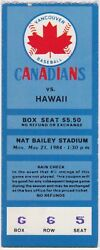 1984 Vancouver Canadians ticket stub vs Hawaii for sale $10.00