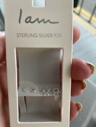 STERLING SILVER SET OF TWO 925 POST EARRINGS SUN amp; MOON NEW $9.99
