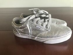Vans Off The Wall Girls Silver Sequin Shoes Lace Up Size 4.5 $17.50