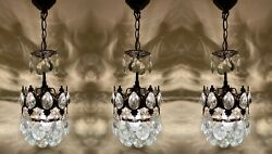 Antique Vintage Pair Of 3 Matching Chandelier Brass amp; Crystal Chandelier Lamps $425.00