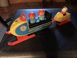 Fisher Price Vintage Little People Play Family Mini Snowmobile #705 Cleaned $47.95