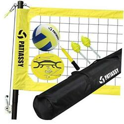 Portable Outdoor Volleyball Net Set with Height Adjustable Poles Winch Yellow $255.18
