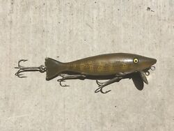 """Vintage Paw Paw Wood Caster Lure 3 Hook Creek Chub Bait Antique 5"""" Wooden $249.95"""