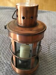 """Rustic Metal amp; Glass Lantern Tea Light or Votive Candle Holder. 9"""" Preowned $7.99"""