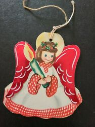 Vtg Christmas Greeting Card Diecut Paper Tree Ornament Angel Candle Holly 30 40s $8.98