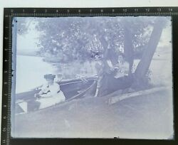 1880#x27;s Antique Glass Plate Negative 4x5 lady a smoking pipe w friends in a canoe $29.95