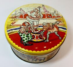 Vintage Circus Clown Round Metal Tin With Lid Bright Colors No Dents RARE $25.00