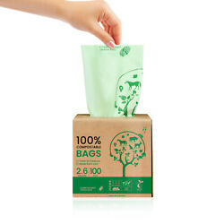 Compostable Trash Bags 100% 2.6Gal 100 Counts 13Gal 50 Counts Heavy Duty $12.99