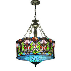 Tiffany LED With Floral Pattern Glass Shade Semi Flush Ceiling Pendant Fixtures $189.00