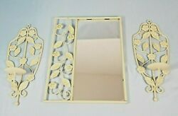 Wall Hanging Antique Decor Metal Trio Mirror amp; 2 Candle Sconces $26.39
