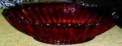Vintage Deep Ruby Red Depression Glass Ribbed Scalloped Oval Bowl MINT $17.95