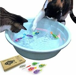 Interactive Swimming Robot Fish Toy for Cat with LED Light 4pc Set $17.89