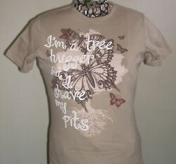 FADED GLORY WOMENS NOVELTY T SHIRT quot;I#x27;M A TREE HUGGERquot; M 8 10 SAVE THE PLANET $0.99