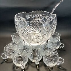 Vintage Crystal Punch Bowl Set Wheat amp; Star Design 12 Cups With Glass Ladel $49.99