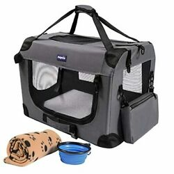 Soft Sided Pet Carriers for Cats Small Dogs3 Door Soft Sided Folding Gray $102.77
