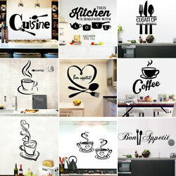 1PC Large Kitchen Wall Sticker Cuisine Coffee Vinyl Stickers Poster Mural C $0.99