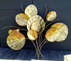 Vintage Brutalist Wall Art Metal Sculpture Lily Pads and Cat Tail Springs $98.98