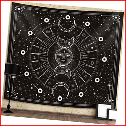 Sun Moon Tapestry Wall Hanging Stars Space Psychedelic Black and White Wall for $9.95