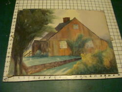 original Painting; watercolor RED HOUSE wall trees unsigned undated $140.78