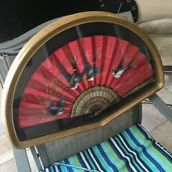 FRAMED FRENCH? ANTIQUE FAN VICTORIAN? HAND PAINTED SILK BIRDS W CARVED STICKS $150.00
