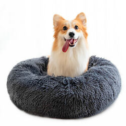 27.6in Calming Pet Beds for Dogs Anti Anxiety Fluffy Cats Bed Cuddler Washable $30.64