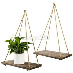 Wall Hanging Shelve Wood Floating Plant Shelve Wall Rustic Rope Style Home W $10.79