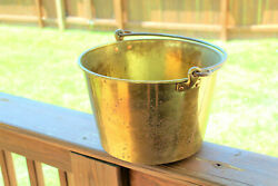 ANTIQUE BRASS 2 GALLON BUCKET PAIL WITH WROUGHT IRON HANDLE $37.50