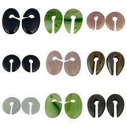 Pair of Stone Ear Weights hangers round oval keyhole organic $32.49