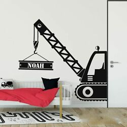 Crane Wall Stickers Personalized Truck Wall Decal Boy Room Kids Vinyl Home Decor $11.99