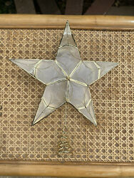CAPIZ SHELL Star Christmas Tree Topper Gold Wire 5 pointed Scroll Ornate Decor $22.00