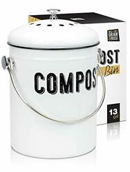 COMPOST BIN with Non Smell Filters Kitchen Countertop Container 1.3 Gal GRANROSI $39.29