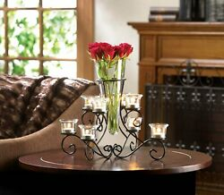 Black Glass Iron Scrollwork Candle Stand With Vase Indoor Decor $35.06