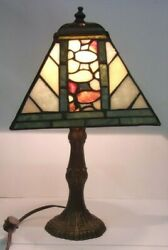 Vintage HANDLEY Table Night Light Lamp Stained Glass Shade 12quot; Tall $33.75