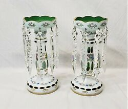 Antique Bohemian Czech Mantle Lustres Lusters White Cut to Green Overlay Glass $285.00