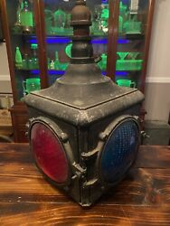 4 WAY METAL STOP GO LIGHT RED GREEN LENSES HANGING ANTIQUE TRAFFIC SIGNAL GE $749.99
