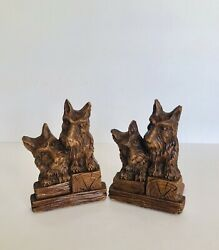 Antique Vintage Scottish Terriers Pressed Wood BOOKENDS Syroco? Scotty Dog '30's $19.95